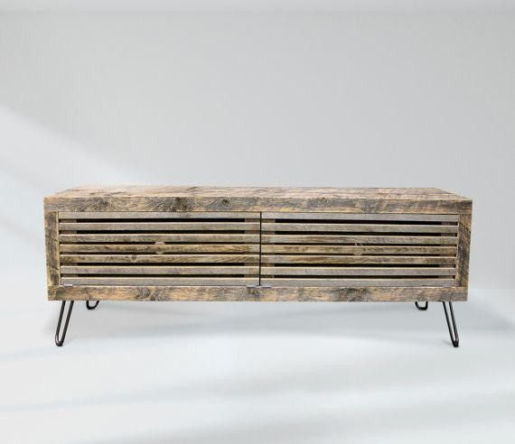 Reclaimed Wood Media Console, Slatted Wood Doors - Free Shipping