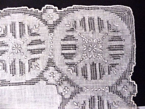 White Linen Lace Handkerchief Madeira Embroidery