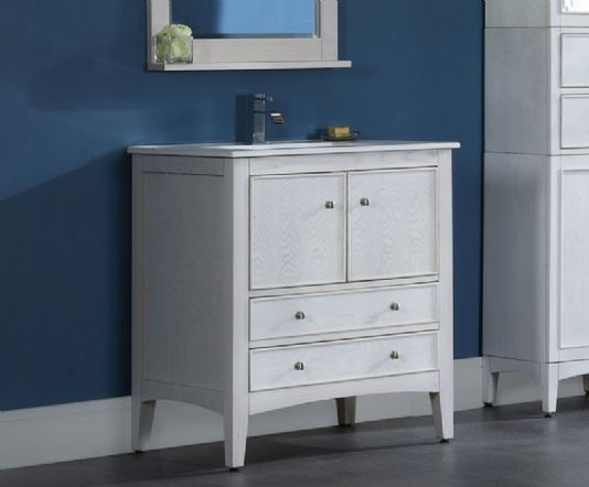 Gallery One Kent inch Traditional Bathroom Vanity Whitewash Finish Solid Ash construction is striking with its solid Ash construction and typical Ash grain finish