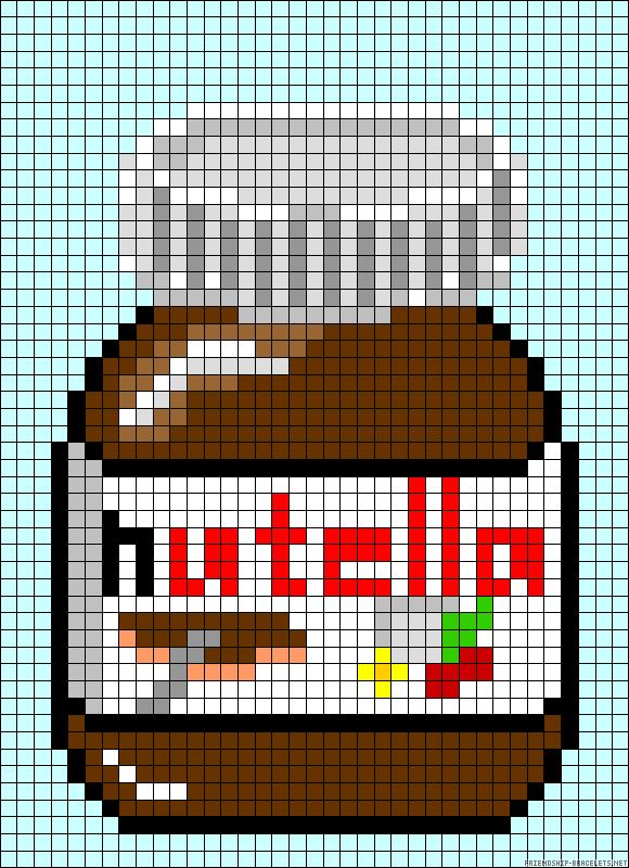 Nutella  jar perler bead pattern... reminds me of Beth!