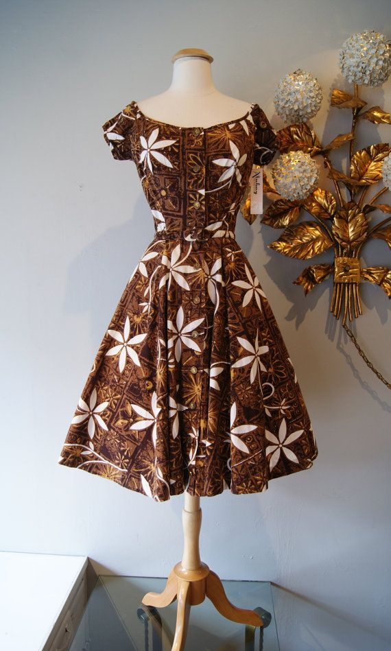 50s Hawaiian Dress / Vintage 1950's Alfred by xtabayvintage, $198.00