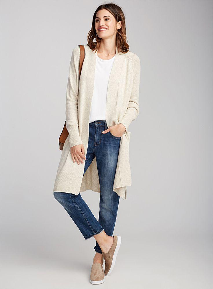 Long and open slit-pocket cardigan | Contemporaine | Shop Women's Cardigans | Simons