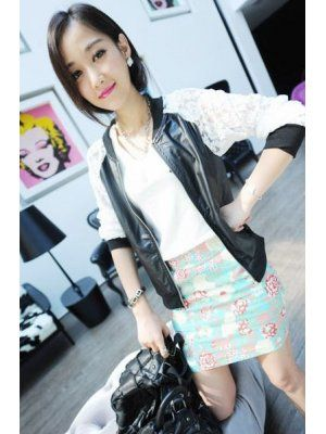 Korean Style Lace Patchwork Zipper Fly Long Sleeve PU Jackets