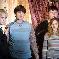 Tom Felton, Matthew Lewis, Emma Watson, and Jamie Waylett in Harry Potter and the Order of the Phoenix (2007)