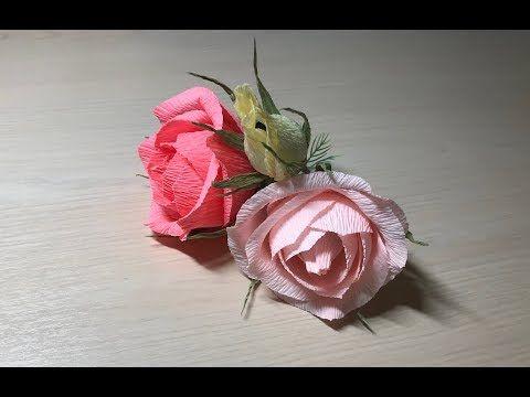 Пышная роза из гофробумаги с конфеткой внутри - YouTube