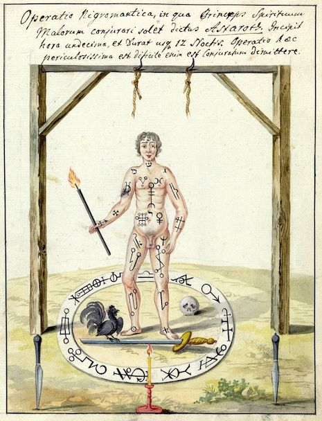 """""""Compendium rarissimum totius Artis Magicae sistematisatae per celeberrimos Artis hujus Magistros"""", a rare book on the occult dating from 1775 which is held by the Wellcome Library. The volume is written in a mixture of German and Latin and contains 31 watercolour illustrations of the Devil and his demonic servants together with three pages of magic and occult ritualistic symbols."""