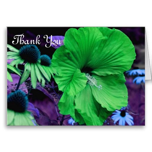 Green Hibiscus Flower Photography Thank You Card