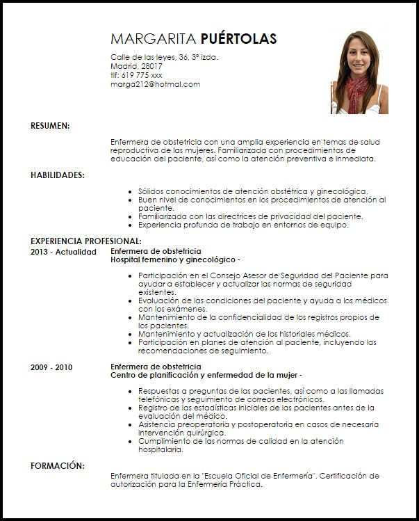 Nursing Resume Tips And Samples To Nuture Your Career Modelo Curriculum Vitae Enfermera De Obstetricia Cv