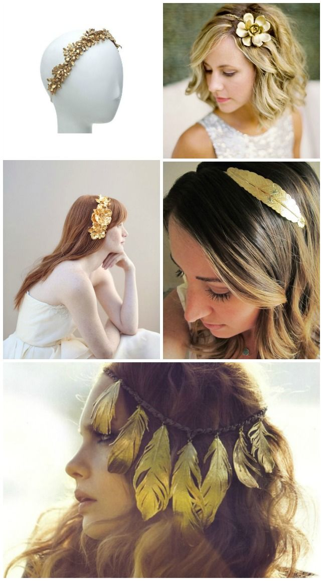 corona headband crown diadema oro plumas fether flores flower laurel