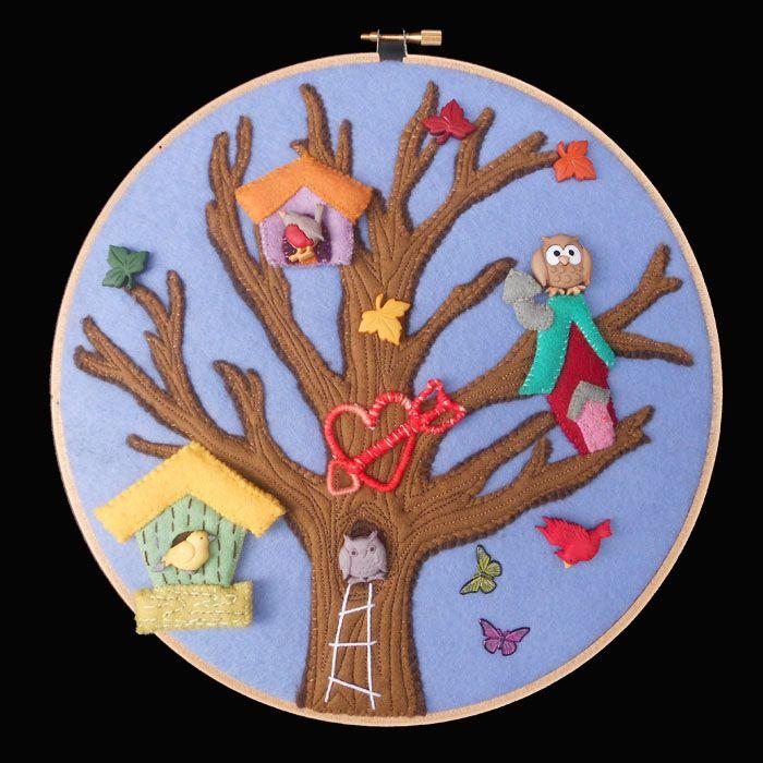 Hoop art felt scene hand stitched and embellished