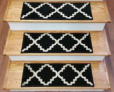 "Rug Depot 13 Transitional Carpet Stair Treads 26"" x 9.5"" Staircase Rugs Black"