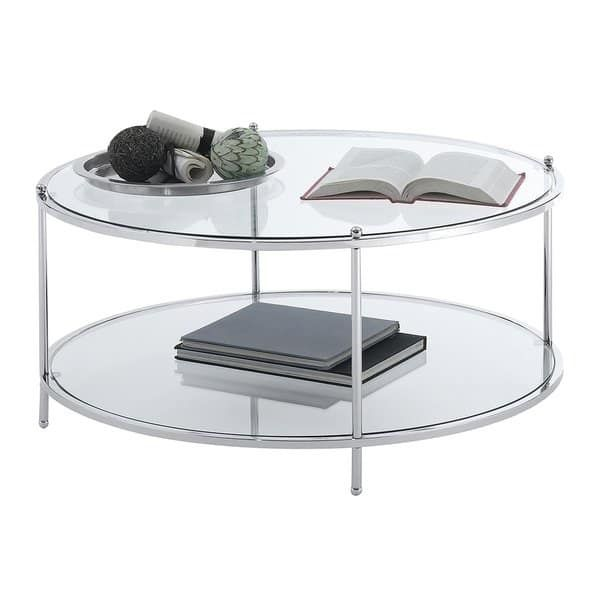 Silver Orchid Farrar Glass 2 Tier Round Coffee Table Round Glass