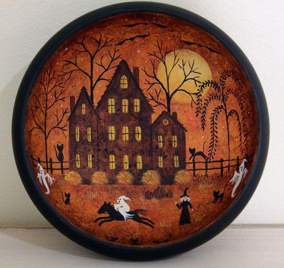 folk art halloween wood bowl hand painted by ravensbendfolkart