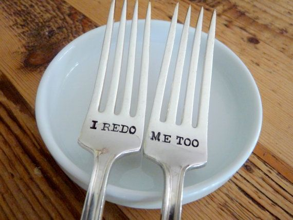 Vow Renewal forks. Instead of I do, me too.... I REDO + ME TOO!!   by ForSuchATimeDesigns