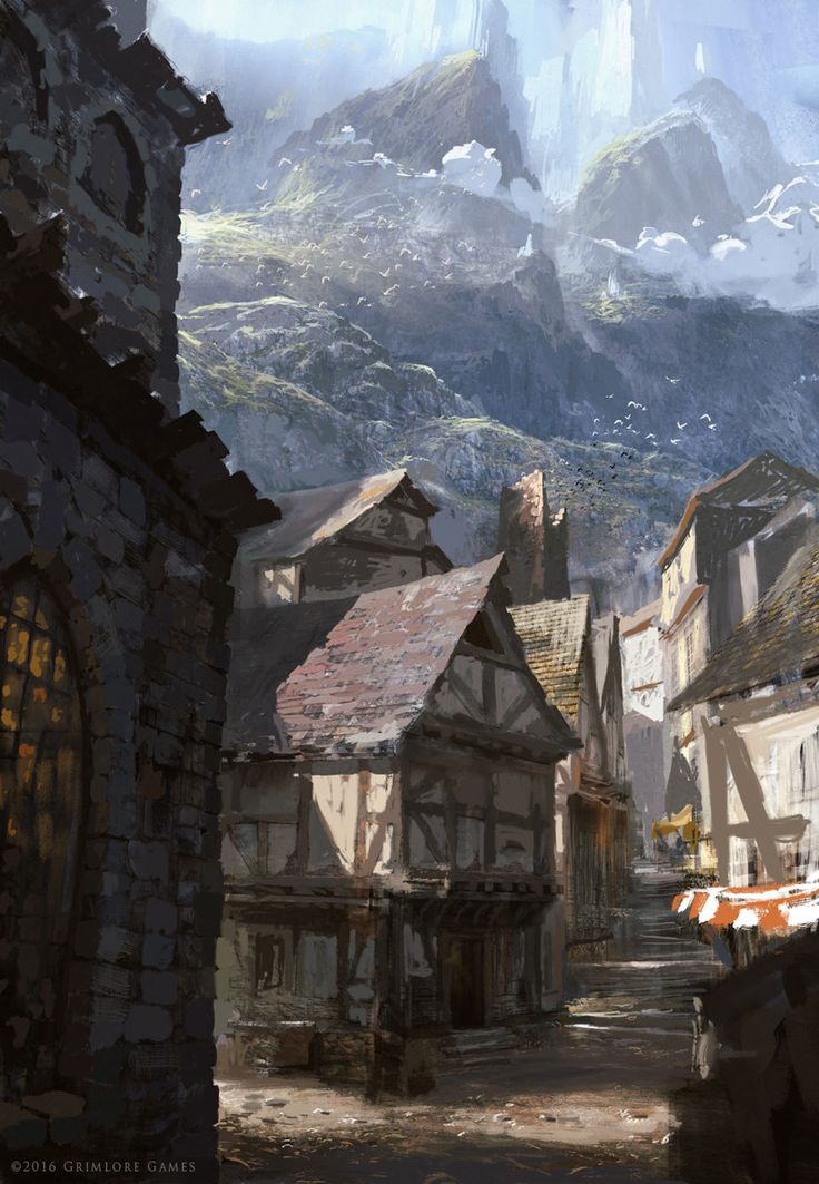 concept fantasy medieval village town landscape artwork cities spellforce sketch raphael mountain environment artstation anime rpg paysage map drawing places