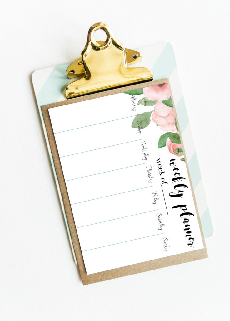 Sweet weekly planner with hand-painted roses. Have your organizer with beautiful…