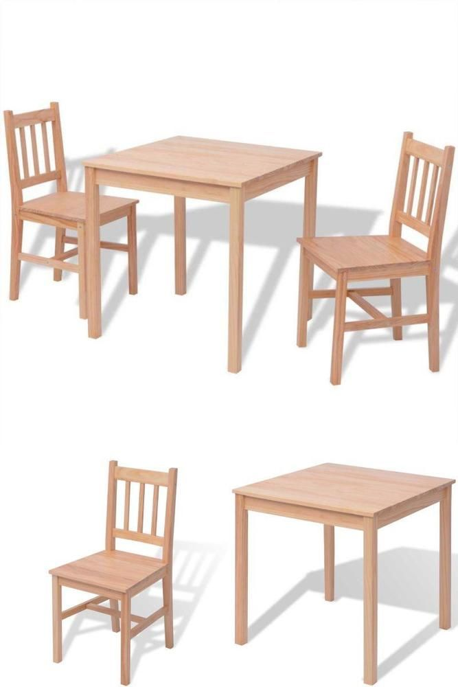 Wooden Dinner Table Set Pine Chairs Dining Room Kitchen Hotel Guest Breakfast
