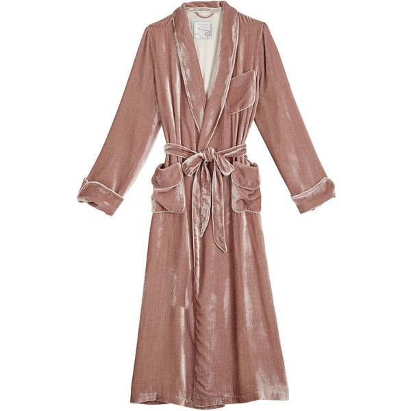 Velvet Robe de Chambre (€820) ❤ liked on Polyvore featuring jackets, coats, lingerie and outerwear
