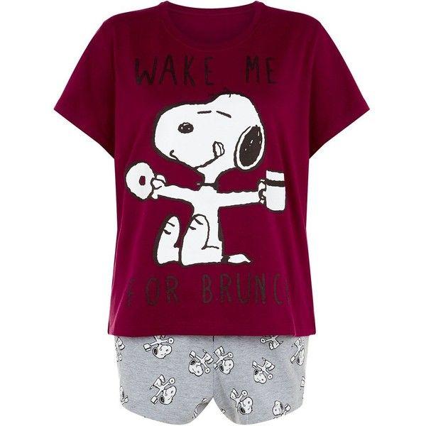 Purple Snoopy Pyjamas Set ($23) ❤ liked on Polyvore featuring intimates, sleepwear, pajamas, purple pjs and purple pajamas