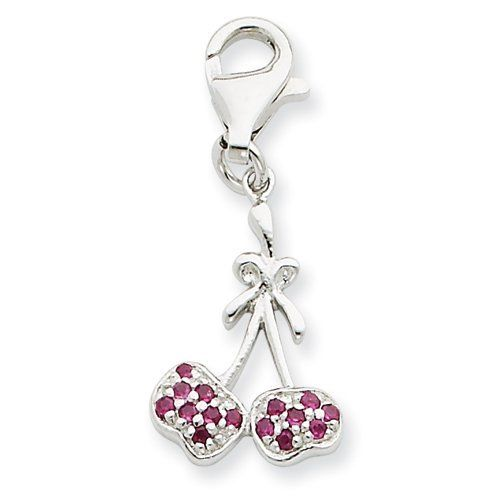 Sterling Silver CZ Cherries Charm Real Goldia Designer Perfect Jewelry Gift goldia. $12.01