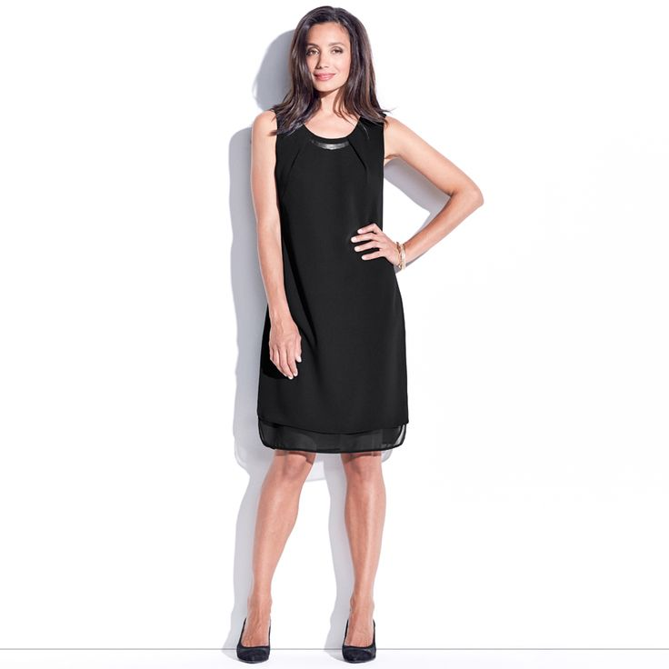 Chantay Neck Trim Dress - Black. This sleeveless shift dress features a soft gold neck trim at the front neck with tuck details. It has contrast sheer georgette panel design at hem band.