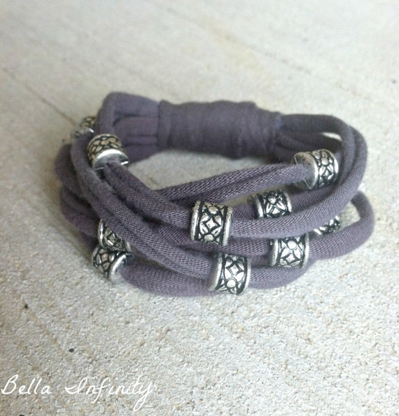 Bella Infinity Beaded Jersey Bracelet Grey by BellaInfinityScarves, $12.00  www.facebook.com/infinity0512