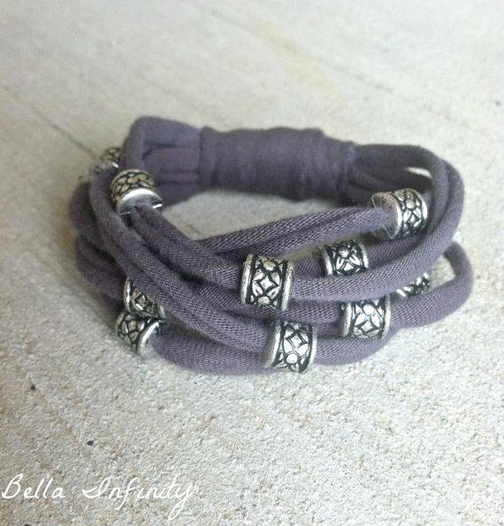 Bella Infinity Beaded Jersey Bracelet Grey by BellaInfinityScarves, $12.00 www.facebook.com/infinity0512