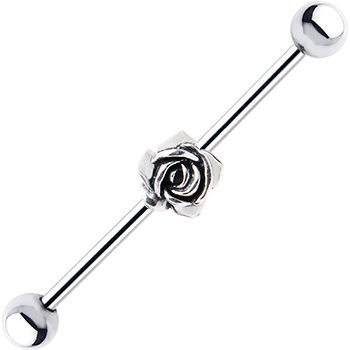 Surgical Steel Sterling Silver Rose Industrial Barbell Earring #industrial #bodycandy #piercing $10.99