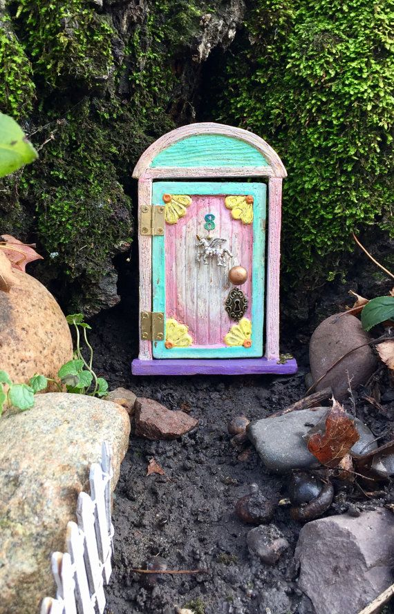 """Hinged """"flowered"""" Fairy door for the home or garden -   Cotton candy"""