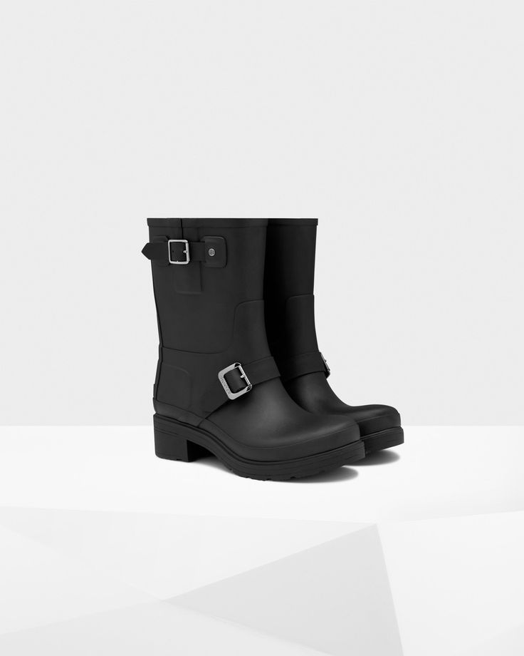 A new interpretation of the biker boot style, this women's ankle boot is handcrafted from natural rubber with a 5cm heel.