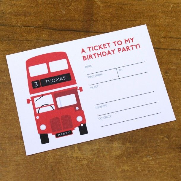 Personalised London Bus Birthday Party Invitation By Susie
