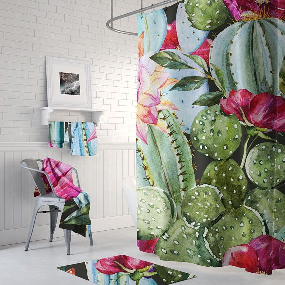 Floral Cactus Tropical Shower Curtain Succulent Curtain Floral
