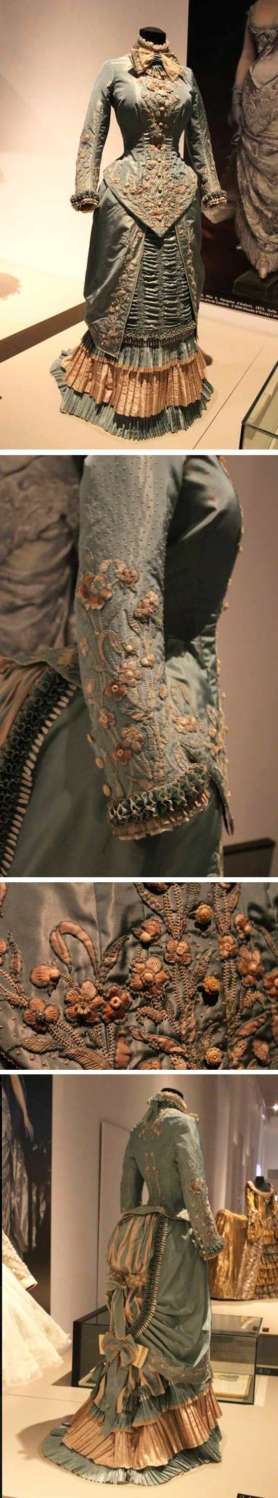 """1882 dress from the exhibit """"Plein les Yeux"""" at the Musée de la Dentelle in Calais. Long list of thanks: to Patricia Brandon, on whose Pinterest board I first saw these pics; Cindy d'Aquin-Pike, who directed me to House of PoLeigh Naise  on Facebook and Patrician Designs on FB, the original source of these wonderful photos."""