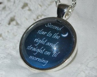 """Peter Pan Inspired """"Second star to the right ..."""" quote Necklace"""