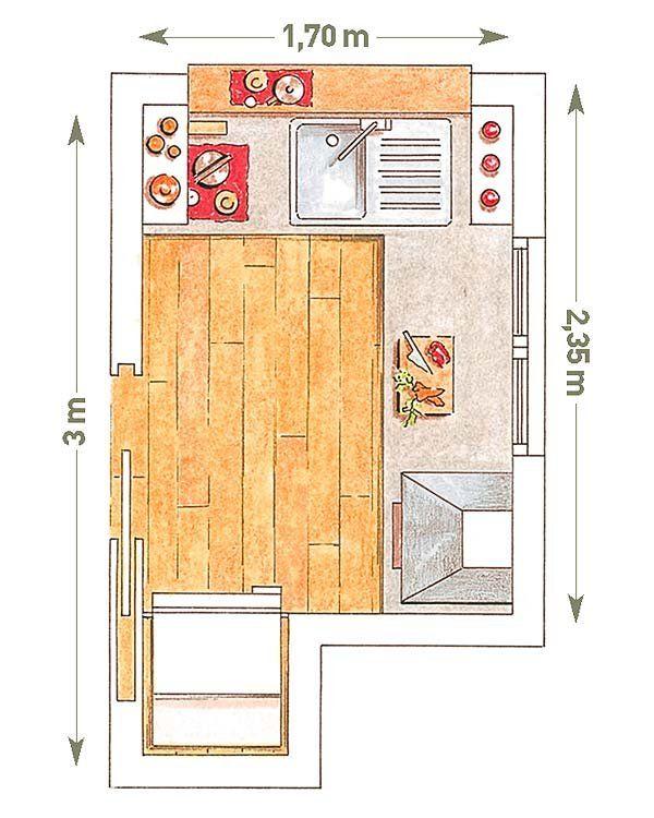 17 mejores ideas sobre cocinas de caba as peque as en for Cocina 3 metros pared