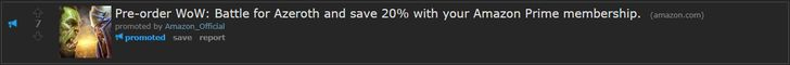I've been seeing this ad for 20% off BFA but amazon still shows full price. #worldofwarcraft #blizzard #Hearthstone #wow #Warcraft #BlizzardCS #gaming