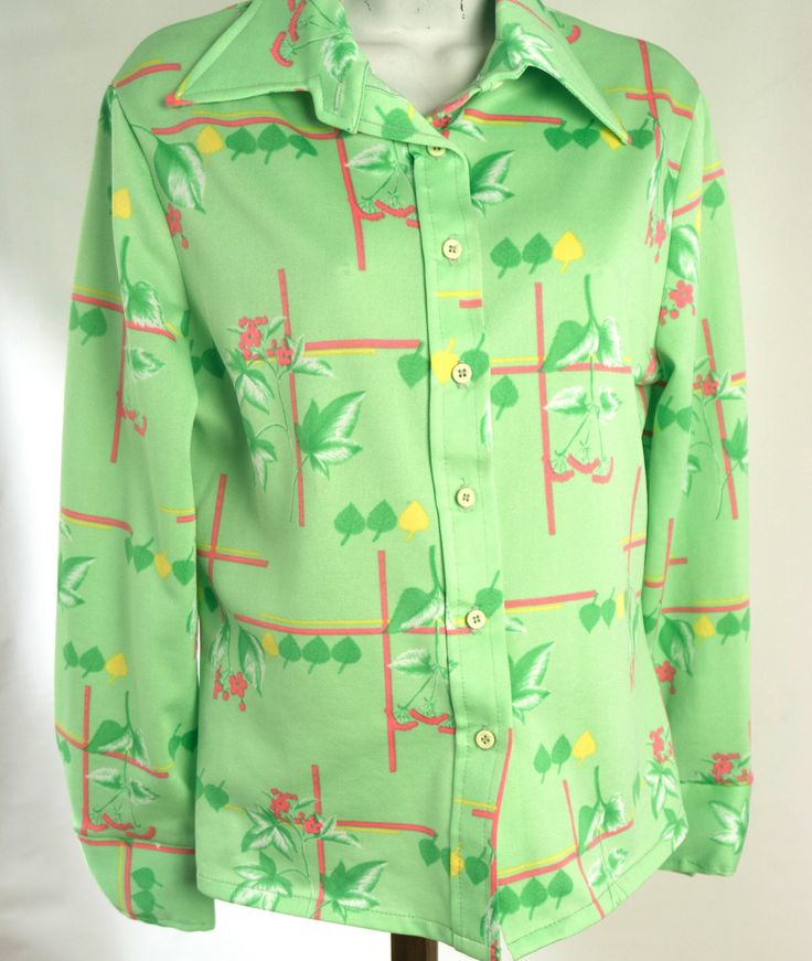 1970s Shirt Tropical Print Lime Green Button Down Pointed Collar by BoneJackVintageDecor on Etsy