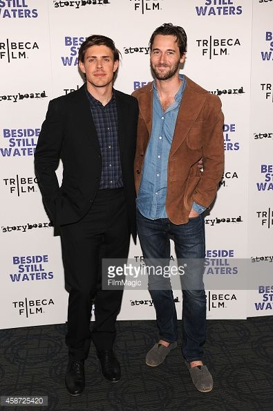 Filmmaker Chris Lowell (L) and actor Ryan Eggold attend the 'Besides Still Waters' New York premiere at Sunshine Landmark on November 9, 2014 in New York City.