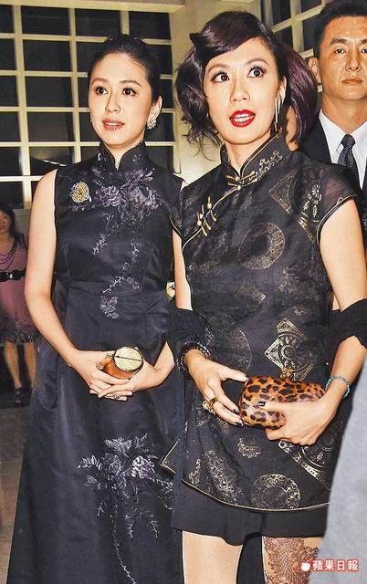 賈靜雯(右)昨晚與蔡依珊一身黑,一起出席派對。吳翊緁攝