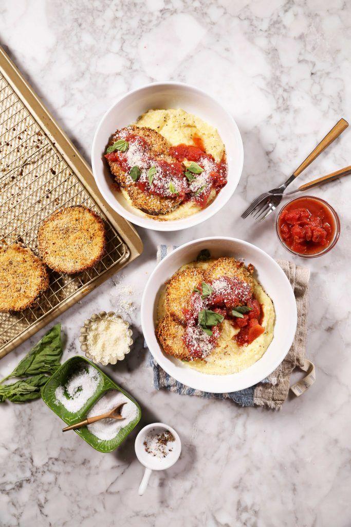 Bowl of Food: Baked Eggplant Parmesan with Creamy Polenta | http://joythebaker.com/2017/01/bowl-of-food-baked-eggplant-parmesan-with-creamy-polenta/