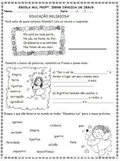 Blog Educacional (Profª. Jezaine): Educação Religiosa - 4º ANo
