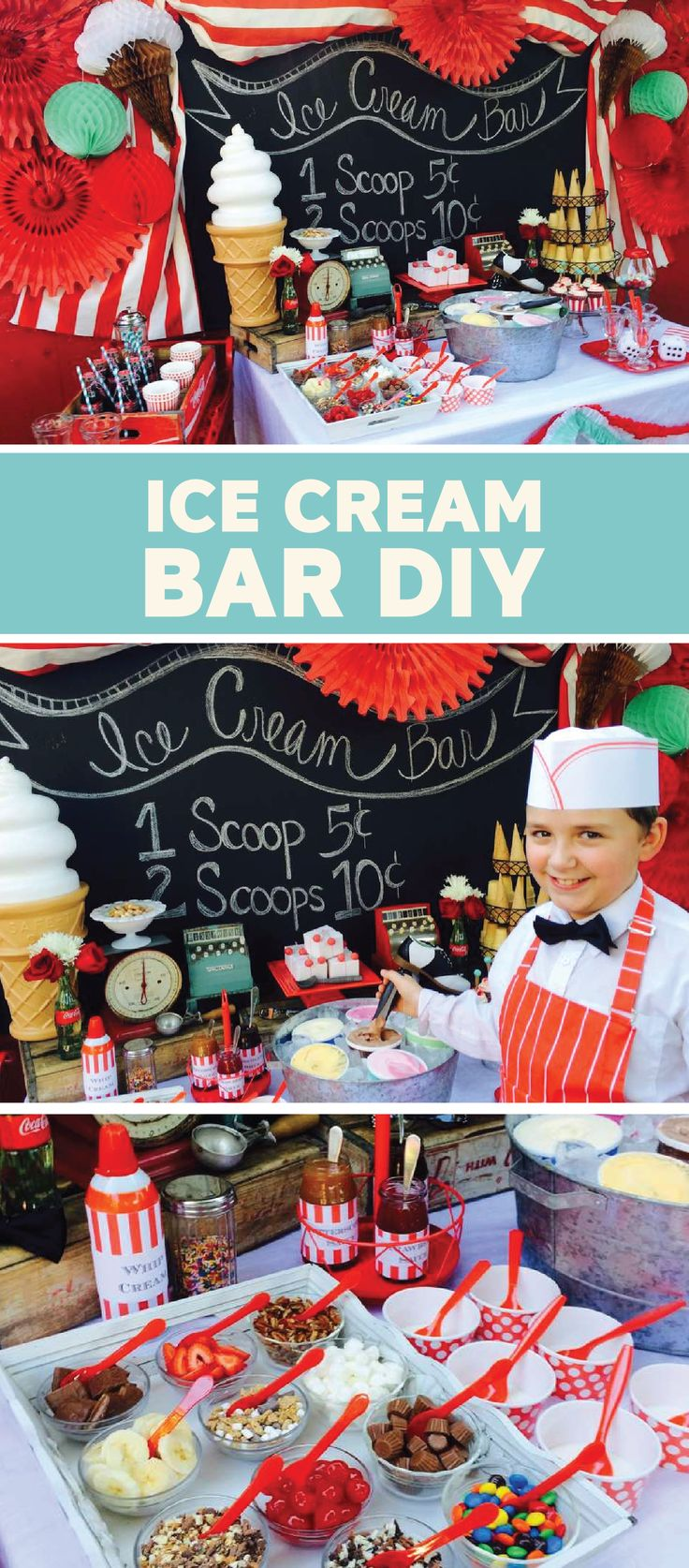 There ain't no party like an ice cream party—especially when you're serving up delicious scoops of Dreyer's Slow ChurnedⓇ ice cream with this old fashioned DIY ice cream bar. Use brightly colored streamers and a chalkboard sign to decorate your dessert table. Your guests will love how festive this ice cream bar is.