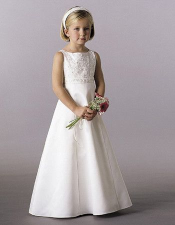 Discount Latest Satin Beaded Applique First Communion Dresses with Bowknot/ Lovely A-Line Bateau Neck Flower Girl Dresses Under 100