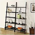 Black Five-tier 2-piece Leaning Ladder Shelf Set   Overstock.com