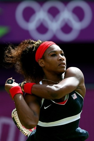 Best Of London: Day 8 - Slideshows | Serena Williams of the United States competes against Maria Sharapova of Russia during the gold medal match.  (Photo: Clive Brunskill / Getty Images) #NBCOlympics