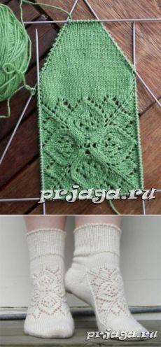 Вязаные носки спицами с орнаментом