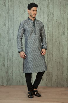 Silk printed kurta with churidar from #Benzer #Benzerworld #menswear #weddingdressformen
