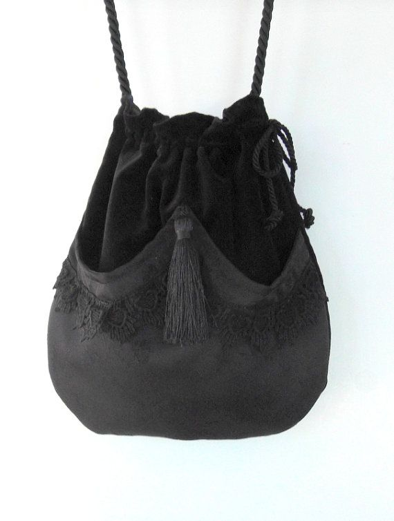 Black Lace Drawstring Bag  Black Velvet Bag  Bohemian Bag  Crossbody Purse Dark Forest Mori Girl