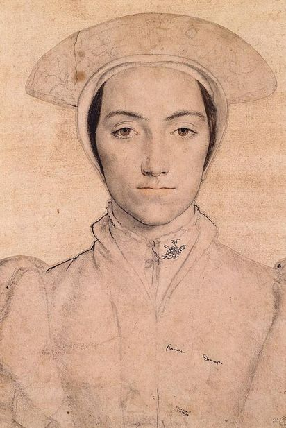 Sketch of Amalia von Kleve-Jülich-Berg, sister of Anna von Kleve (Anne de Clèves), by Hans Holbein - 1539. Both Anna and her sister Amalia were sketched by Holbein, since they were both being considered as potential candidates for King Henry VIII's fourth wife.