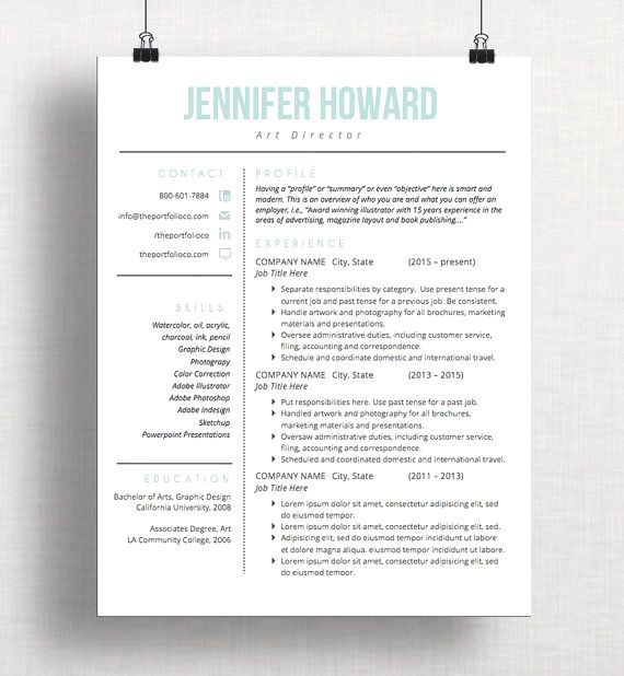 Modern Resume Template Cv Template Cover Letter Creative Resume Design Mac Or Pc Microsof Good Resume Examples Resume Design Professional Resume Tips